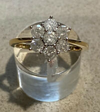 9ct yellow gold ~ Flower Diamond Cluster Ring ~ Size P