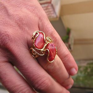 Angel Skin Cabochon Pink Coral Ring in Silver Yellow Gold Size  8 Gem . 22 X 16