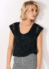 Scoop Neckline Black Body with Lace Wrap Front Size 20 NEW
