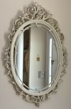 Beautiful Baroque Style White Framed Oval Mirror from 1960s Excellent Condition