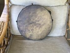 """More details for vintage brass and hide 12"""" tambourine"""