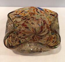 """1950s Murano Barovier & Toso Gold Leaf Millefiori 7-1/2"""" Cigar Ashtray Estate"""