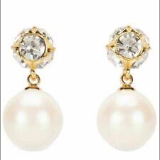 Kate Spade Lady Marmalade Faux Pearl Drop Crystals Cream Earrings O0RU1959