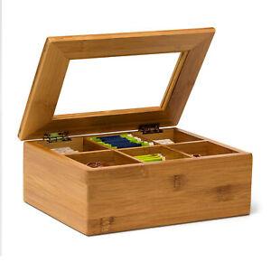Teebox Bambus mit 6 und 8 Fächern lackiert Teekiste mit Sichtluke Teebeutelbox