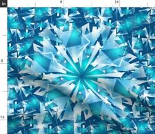 New listing Kaleidoscope White Ice Blue Abstract Winter Spoonflower Fabric by the Yard