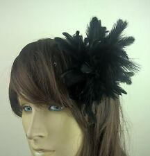 black feather fascinator hair clip headpiece wedding party fancy dress