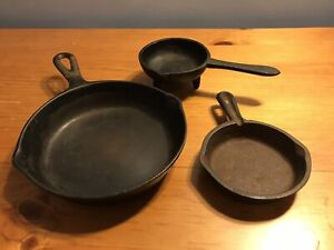 Lot of Three Small Cast Iron Pans