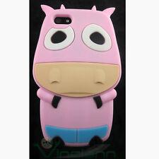Película+Funda de silicona VACA para iPhone 5 5S EN cubierta ROSA animales