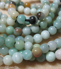 "Amazonite 8mm Round Large 2mm Hole Beads 8"" Leather Cord Chain Wire Wrap"