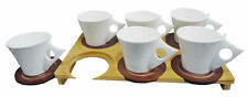 CERAMIC TEA COFFEE CUP SET WITH BEAUTIFUL BAMBOO TRAY  & BROWN  SAUCERS (WHITE)