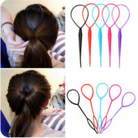 Women Plastic Topsy Tail Hair Braid Ponytail Styling Tool Black Maker Clip Girls