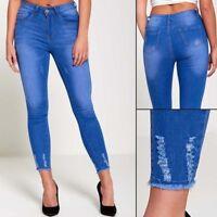Ladies Womens Ripped Light Distressed Hem Skinny Slim Jeans Blue 6 8 10 12 NEW