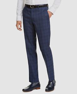 $280 Bar III 30W 32L Men's Blue Slim Fit Plaid Suit Dress Flat Trousers Pants