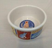"Riviera Van Beers Signature Cat  ""Feed Me!""  Stoneware Food Bowl Dish  6"" x 3"""