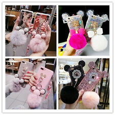 3D Luxury Bling Diamond Mickey Mouse Plush Ball Strap Case Cover for Cell Phones