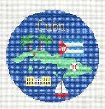 "*Brand New* Cuba Island handpainted 4.5"" Rd Needlepoint Canvas Silver Needle"