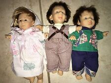 """Lot of 3 GI-GO 8"""" Expression Bean Bag Baby Dolls w/ Clothes"""