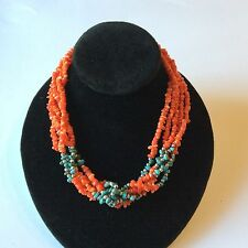 "Handcrafted Ss 925 Length 16 1/2"" Necklace Five Strand Coral And Turquiose"