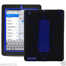 iPad 2 / 3 S Armor Hybrid Case Skin Cover w/ Kickstand New iPad Black Blue