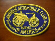 VINTAGE ANTIQUE AUTOMOBILE CLUB OF AMERICA PATCH MADE ON OLD TWILL 4 1/4 INCH