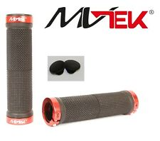 """Coppia Manopole """"MV-TEK"""" Lock color Rosso/Nero per Bici 20-24-26 BMX Freestyle"""