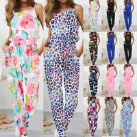 Women Ladies V Neck Floral Print Long Sleeve Jumpsuit Casual Tracksuit Playsuit