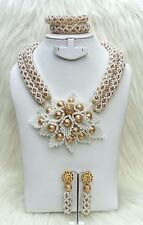 PrestigeApplause Gold and white Wedding Bridal African Beads Jewellery Set