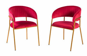 New Bold Tones Red Silk Velvet and Gold Metal Modern Chair