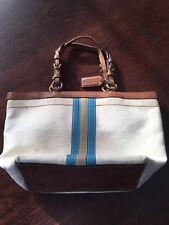 Coach White Brown Leather Signature handbag purse