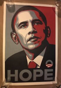 """RARE SHEPARD FAIREY """" OBAMA HOPE """" 2008 DNC CAMPAIGN ORIGINAL PRINT POSTER RARE!"""