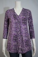 Dana Buchman Miss XS Purple Snake Print Asymmetrical Pleat 3/4 Sleeve Shirt Top
