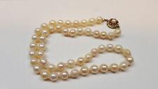 Akoya Perlenkette Perlencollier 585 er Gold (14 Karat) Verschluss mit Rubin