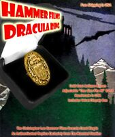 Christopher Lee Hammer Films Dracula Crest Antique Gold Color Prop Ring Replica