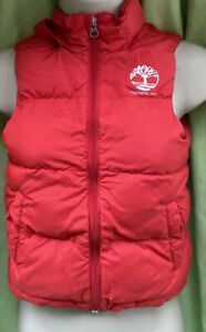 Timberland Aged 8 Years Red Full Zip Padded Hooded Body warmer