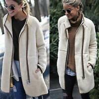 US Womens Winter Warm Cardigan Teddy Coat Long Zip Up Fleece Jacket With Pocket