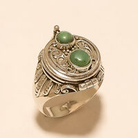 Natural Afghan Green Turquoise Poison Ring 925Sterling Silver URN Locket Jewelry