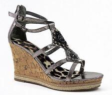 Rampage Women's Bastian Wedge Sandals Pewter Snake Size 11 M