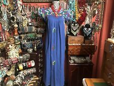 Absolutely Precious Vintage Blue Oaxacan Mexican With White Embroidery Dress M