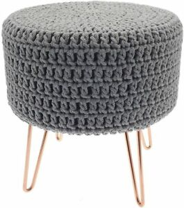 BERGEN KNITTED GREY FOOTSTOOL POUFFE WITH INDUSTRIAL STYLE COPPER HAIRPIN LEGS