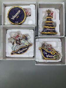 Lot Of 4 Danbury Mint NFL Minnesota Vikings Christmas Ornament Santa Sleigh Bell