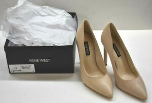 "Nine West Womens Nude Tatiana Pointy Toe Pumps Leather 4"" Stiletto Heel 5M"