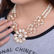 1X Women Statement Necklace Crystal Pearl Pendant Choker Jewelry Decor Gift