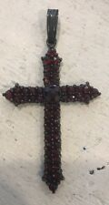 Vintage Antique Large Bohemian Ruby Red Garnet Cross Necklace Pendant 2""