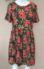 Topshop Floral Dress Size 10 Black Bright Vintage Indie 90s Smock Babydoll
