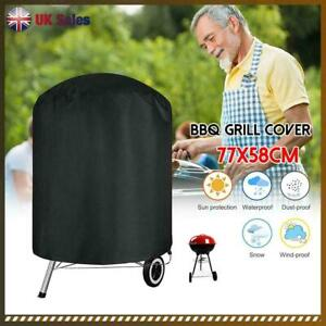 UK Waterproof BBQ Grill Cover Garden Patio Kettle Barbecue Black Round Protector