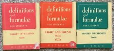 Set of 3 Vintage Definitions and Formulae for Students Pitman Machines Mechanics