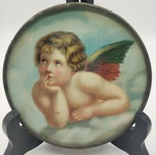 Antique 1905 Flue Cover Litho Cherub Angel On Cloud Picture