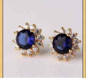 Blue Sapphire & White Topaz 18ct Gold filled flower shaped stud earrings Round
