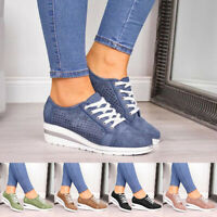 Women Lace Up Wedge Heel Sneakers Platform Casual Pointed Toe Shoes Party Dress