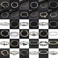 Punk Mens Women Stainless Steel Bracelet Bangle Wristband Clasp Cuff Chain Charm